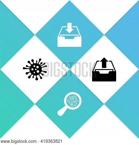 Set Bacteria, Microorganisms Under Magnifier, Download Inbox And Upload Icon. Vector