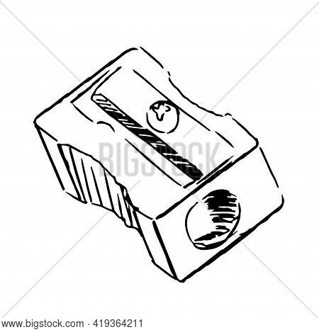 Sharpener Hand Drawn Skecth. Isolated On White Background.