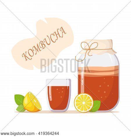 Glass Jar With Drink Of Kombucha, Glass Of Tea, Lemon, Mint Leaves. Inscription Kombucha. Summer Ref