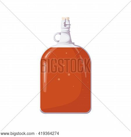 Refreshing Kombucha In Shaped Bottle With Handle, Isolated On White Background. Fermented Probiotic