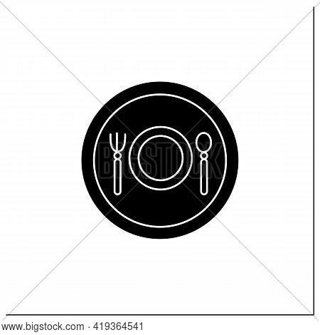 Restaurant Symbol Glyph Icon. Eating And Drinking Establishment Location. Public Place Navigation. U