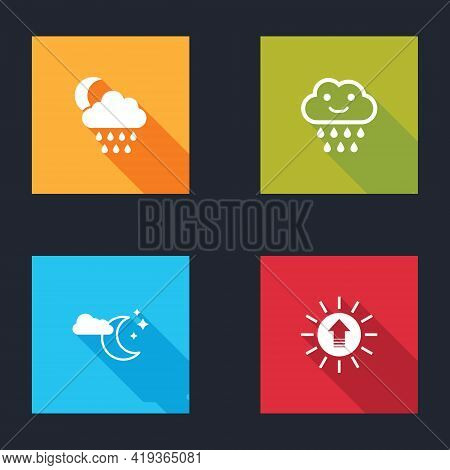 Set Cloud With Rain And Moon, , Stars And Sunset Icon. Vector