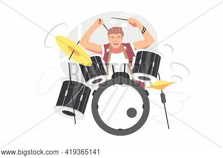 Musician Guy Playing Drum Set Vector Illustration. Beating Cymbals By Drumsticks, Playing With Passi