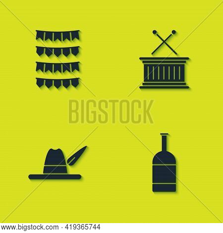 Set Carnival Garland With Flags, Beer Bottle, Oktoberfest Hat And Musical Drum Sticks Icon. Vector