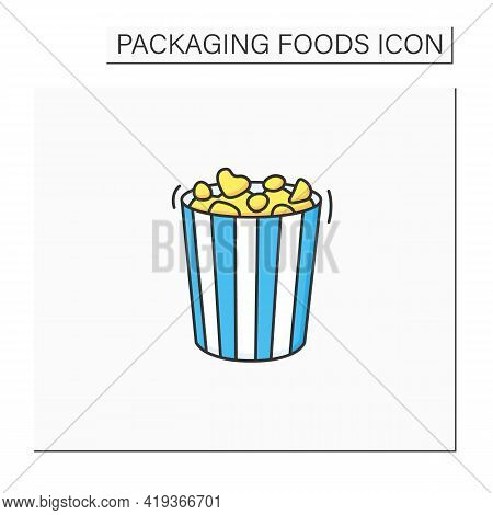 Popcorn Color Icon. Tasty Corn In Special Paper Box. Portion Control. Packing Food Concept. Isolated