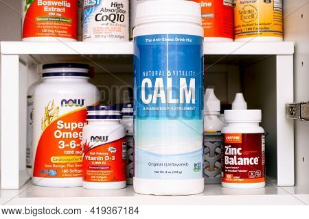 Tambov, Russian Federation - March 19, 2021 Bottle Of Calm (magnesium Supplement) By Natural Vitalit