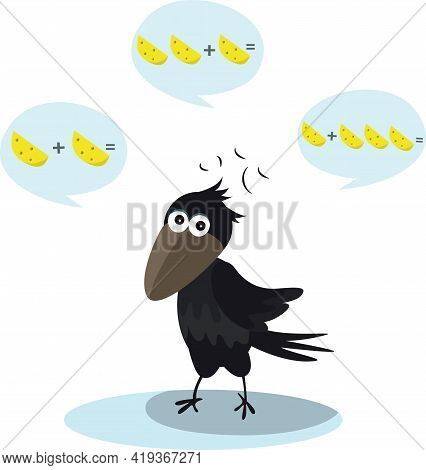 Colorful Illustration With A Crow Calculate Cheese Vector Image