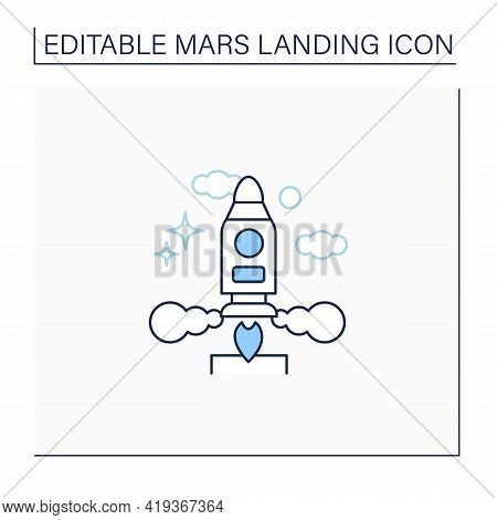 Launch Rocket Line Icon. Launching Spaceship Into The Cosmos. Responsible Mission. Cosmos Research.