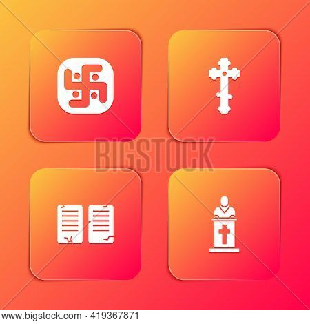 Set Jainism, Christian Cross, The Commandments And Church Pastor Preaching Icon. Vector