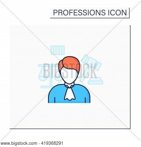 Judge Color Icon. Presides Over Court Proceedings.work In Court.important Job.professions Concept. I