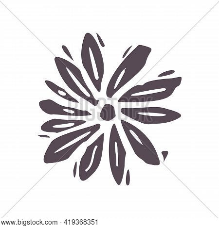 Hand Carved Bold Block Print Flower Icon Clip Art. Folk Illustration Design Element. Modern Boho Dec