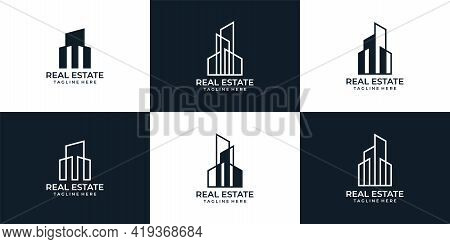 Set Of Real Estate Building Logo Vector Design Collection. Logo Can Be Used For Icon, Brand, Identit