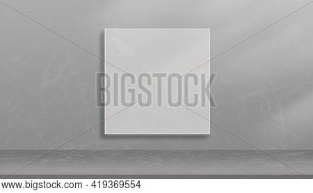Mockup Empty Studio Room In Gray Marble Pattern Frame On Wall Background. Front View Of Empty Galler