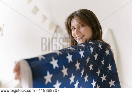 American Flag. Democracy. A Resident Of The United States. Student With National Symbol Of The Count