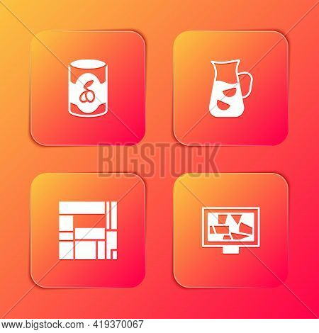 Set Olives In Can, Sangria, House Edificio Mirador And Picture Art Icon. Vector
