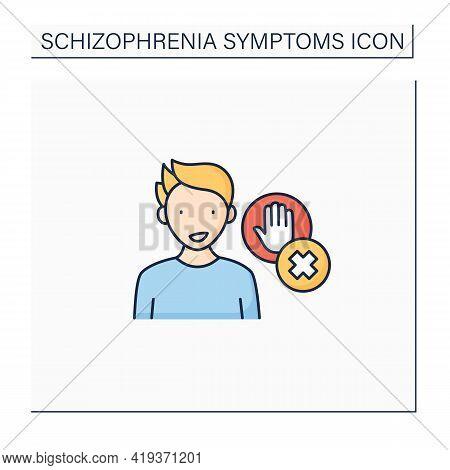 Disorganized Behavior Color Icon.inhibition Lack.impulse Control.schizophrenia Symptoms Concept. Iso