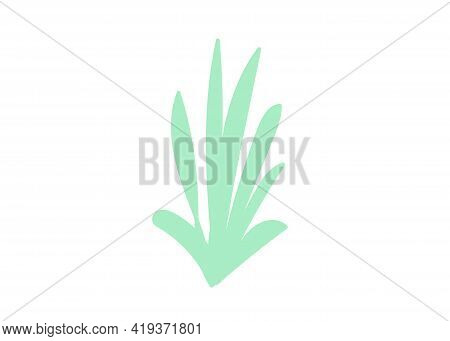 Green Striped Bush Hand Drawing Cartoon Flat Style. Vector Illustration. Single Element Isolated. Ch
