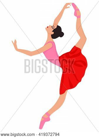 Beautiful Ballerina In Red And Pink Dress And Pointe Shoe, Hand Drawing Vector, Isolated On The Whit