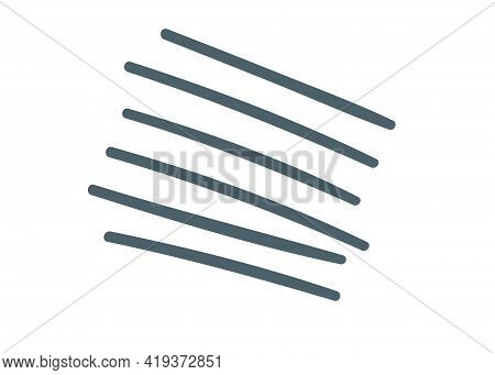 Parallel Lines Chalk Icon. Handdrawn Gray Strokes. Monochrome Vector Elements