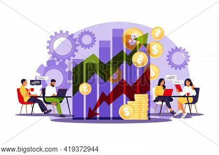 Sales Managers. Growth Chart. Sales Growth Sales Promotion And Operations Concept. Vector Illustrati
