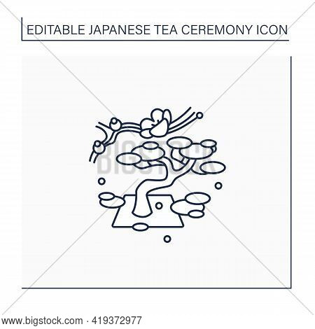 Garden Line Icon. Traditional Gardens Accompanied By Japanese Aesthetics. Bonsai Tree. Natural Lands