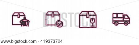 Set Line Plane And Cardboard Box, Delivery With Fragile Content, Package Check Mark And Truck Boxes