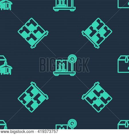 Set Line Scale With Cardboard Box, Cardboard Boxes On Pallet And Plane And On Seamless Pattern. Vect