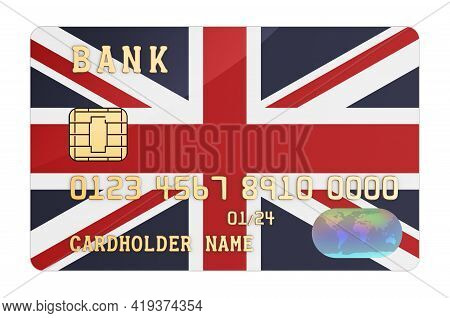 Bank Credit Card Featuring British Flag. National Banking System In The Great Britain Concept. 3d Re