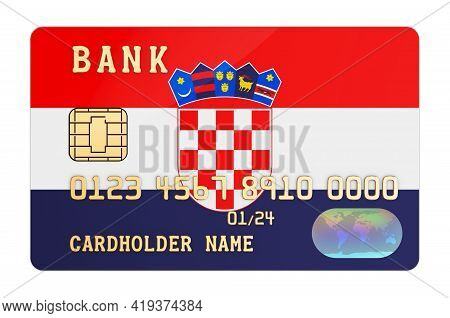 Bank Credit Card Featuring Croatian Flag. National Banking System In Croatia Concept. 3d Rendering I