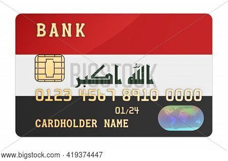 Bank Credit Card Featuring Iraqi Flag. National Banking System In Iraq Concept. 3d Rendering Isolate