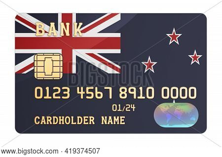 Bank Credit Card Featuring New Zealand Flag. National Banking System In New Zealand Concept. 3d Rend