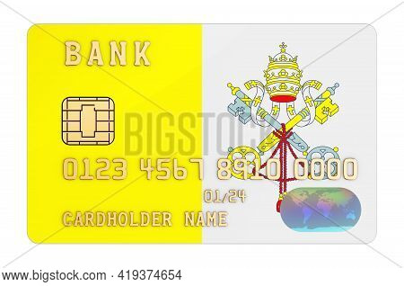 Bank Credit Card Featuring Vatican Flag. National Banking System In Vatican Concept. 3d Rendering Is