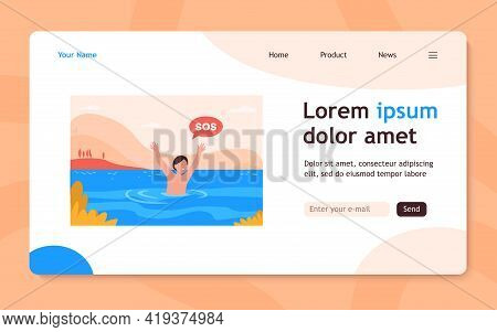 Child Sinking In Lake. Kid Shouting, Calling For Help. Flat Vector Illustration. Children On Beach,