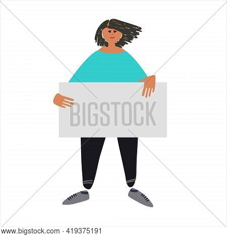 Female Protester Holding A Sign. Vector Illustration In Flat Style