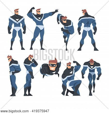 Man Superhero In Action Set, Superman Character Dressed Black And Blue Costume And Mask Cartoon Vect