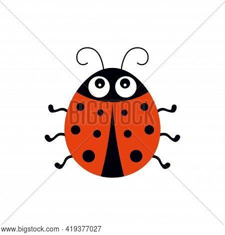 Cute Ladybug Vector Illustration In Flat Style, Cartoon Beetle Ladybug Isolated On White Background,