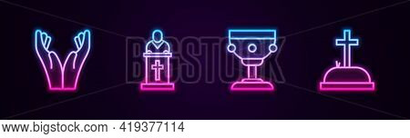 Set Line Hands In Praying Position, Church Pastor Preaching, Christian Chalice And Tombstone With Cr