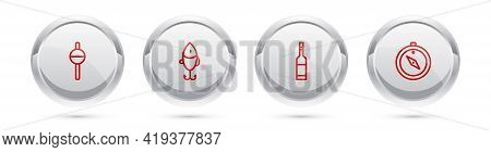 Set Line Fishing Float, Lure, Bottle Of Vodka And Compass. Silver Circle Button. Vector