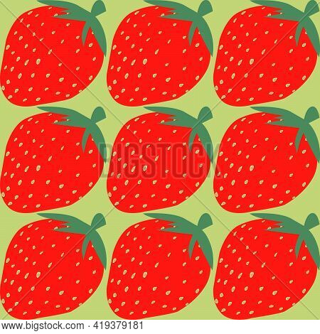 Seamless Pattern With The Image Of Strawberries On A Light Green Background For The Design Of Interi