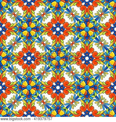 Mexican Talavera Ceramic Tile Seamless Pattern. Decoration With Ornamental Flowers. Background With