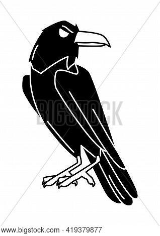 Magic Evil Raven. Mystic, Alchemy, Spirituality, Tattoo Art.