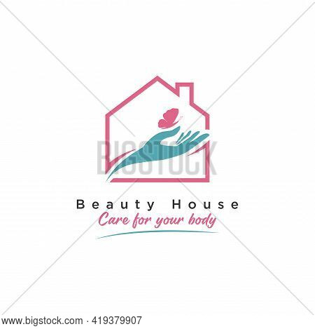 Beauty House Logo Design. Abstract House Combined With Handy Care And Beauty Minimalist Butterfly Si