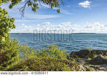 Amazing Beauty On Baltic Sea On Blue Sky With White Clouds. Beautiful Summer Nature Backgrounds. Swe
