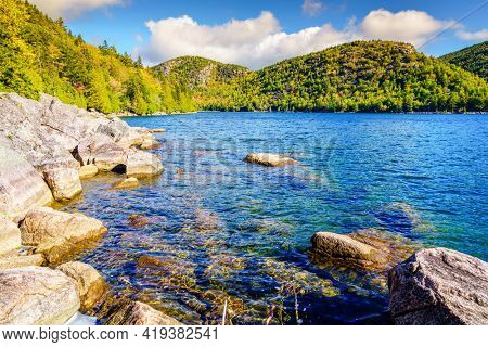 Scenic view of Jordan Pond in Acadia National Park in Maine