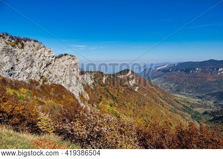 French Countryside. Col De La Bataille: View Of The Heights Of The Vercors, The Marly Hills And The