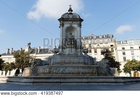 The Fountain Saint-sulpice Or Fountain Of The Four Bishops Built Between 1844 And 1848 Near Saint Su