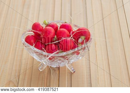 Red Radishes On Wooden Background. Benefits Of Red Radish Concept. Copy Space