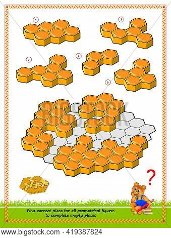 Logic Puzzle Game For Smartest. Need To Find Correct Place At The Honeycomb For Each Of Geometrical
