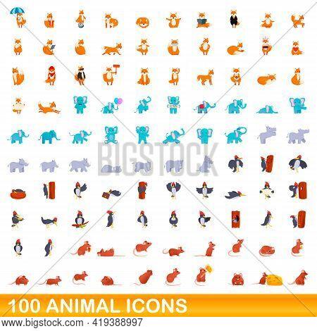 100 Animal Icons Set. Cartoon Illustration Of 100 Animal Icons Vector Set Isolated On White Backgrou