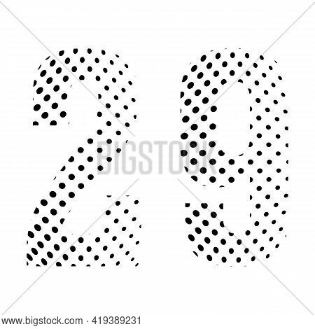 Number Twenty-nine, 29 In Halftone. Dotted Illustration Isolated On A White Background. Vector Illus